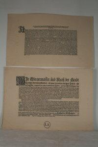 Two facsmile reprints, one reproducing a decree of Johann Friedrich, Duke Elector of Saxony, ...