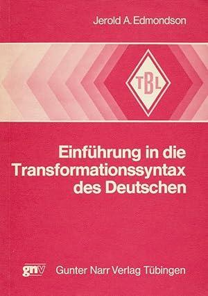 Einführung in die Transformationssyntax des Deutschen.: Edmondson, Jerold A.: