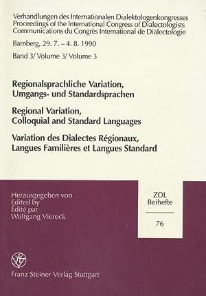 Verhandlungen des Internationalen Dialektologenkongresses: Preceedings of the International ...