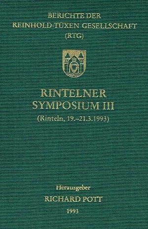 Berichte der Reinhold-Tüxen-Gesellschaft (RTG): Rintelner Symposium III (Rinteln, 19. - ...