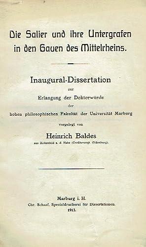 Die Salier und ihre Untergrafen in den Gauen des Mittelrheins. Inaugural-Dissertation zur Erlangung...