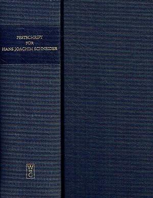 Festschrift für Hans Joachim Schneider zum 70. Geburtstag am 14. November 1998. Essays in ...