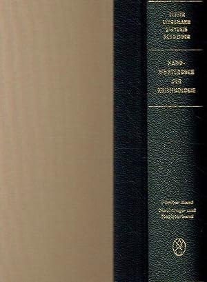 Handwörterbuch der Kriminologie. Band 5: Nachtrags- und Registerband.: Elster, Alexander; ...