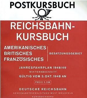 Reichsbahn-/Postkursbuch Jahresfahrplan 1948 amerikanisches, britisches, französisches Besatzungsgebiet: Post- u. fernmeldetechn.