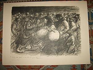 Les deux Cortèges. Lithographie originale en noir.: STEINLEN Théophile-Alexandre.