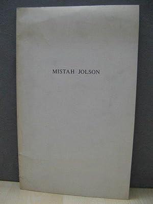 Mistah Jolson: Jolson, Harry; Emley,