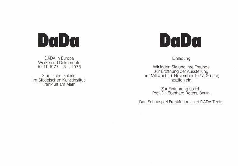DaDa. Einladung zur Ausstellungseröffnung DADA in Europa: Ephemera. DADA.