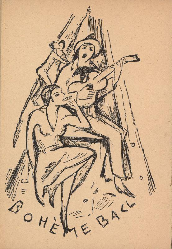 """Einladungskarte """"Bohème Ball"""" der Dresdner Akademie der: Ephemera."""