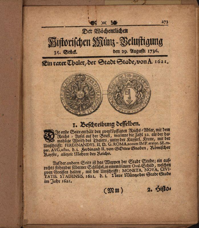 Stader Taler. Seite 273 bis 280 aus: Köhler, Johann David].