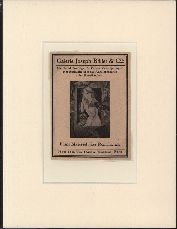 Galerie Joseph Billiet & Co. Frans Masereel.: Ephemera. Anzeige. Masereel.