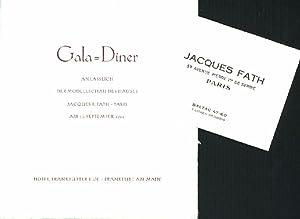 Jacques Fath, Gala-Diner anlässlich der Modellschau des: Jacques F. Fath.