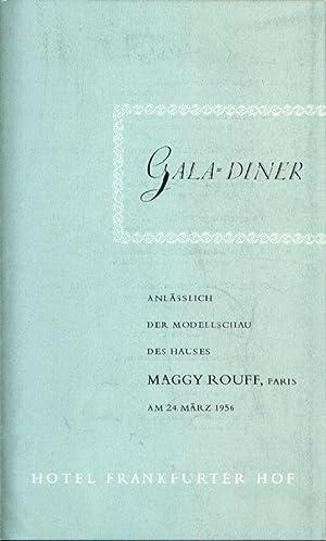 Gala-Diner anlässlich der Modellschau des Hauses Maggy: Frankfurter Hof. Speisekarte.