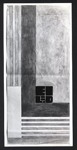 """Schwarz-weiss Fotografie einer Arbeit von Erich Buchholz (aus der Serie der """"Winkel-Arbeiten&..."""