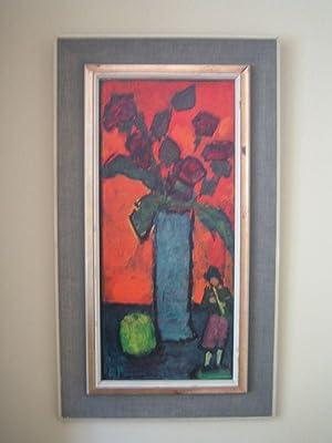 Rosen in blauer Vase mit Figur eines: Jawlensky, Alexej von