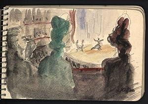 Skizzenbuch mit Original-, teils handkolorierten Zeichnungen von Charles Kiffer. Tanz - Oper - ...