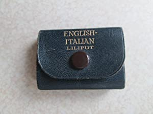 English Italian - Liliput. Black Leather Wrap Around Press Stud Miniature Dictionary