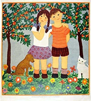 Girl and Boy under a cherry-tree.