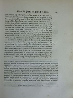 THE CHARTERS AND LETTERS PATENT GRANTED TO BRISTOL: Seyer, Samuel