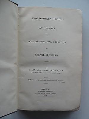 PROLEGOMENA LOGICA: Mansel, Henry Longueville