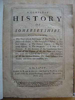 A COMPLEAT HISTORY OF SOMERSETSHIRE