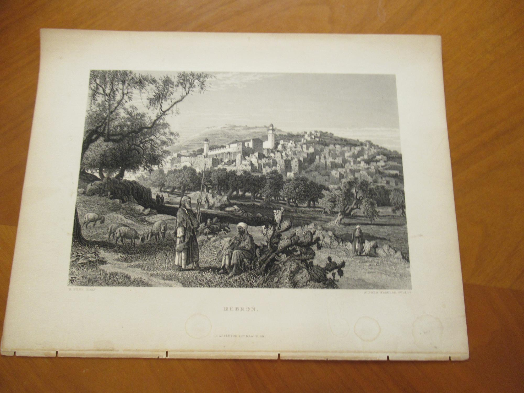 Hebron [Original Engraving Of A View Of The City] Engraving By Alfred Krausse After A Painting By H. Fenn Very Good