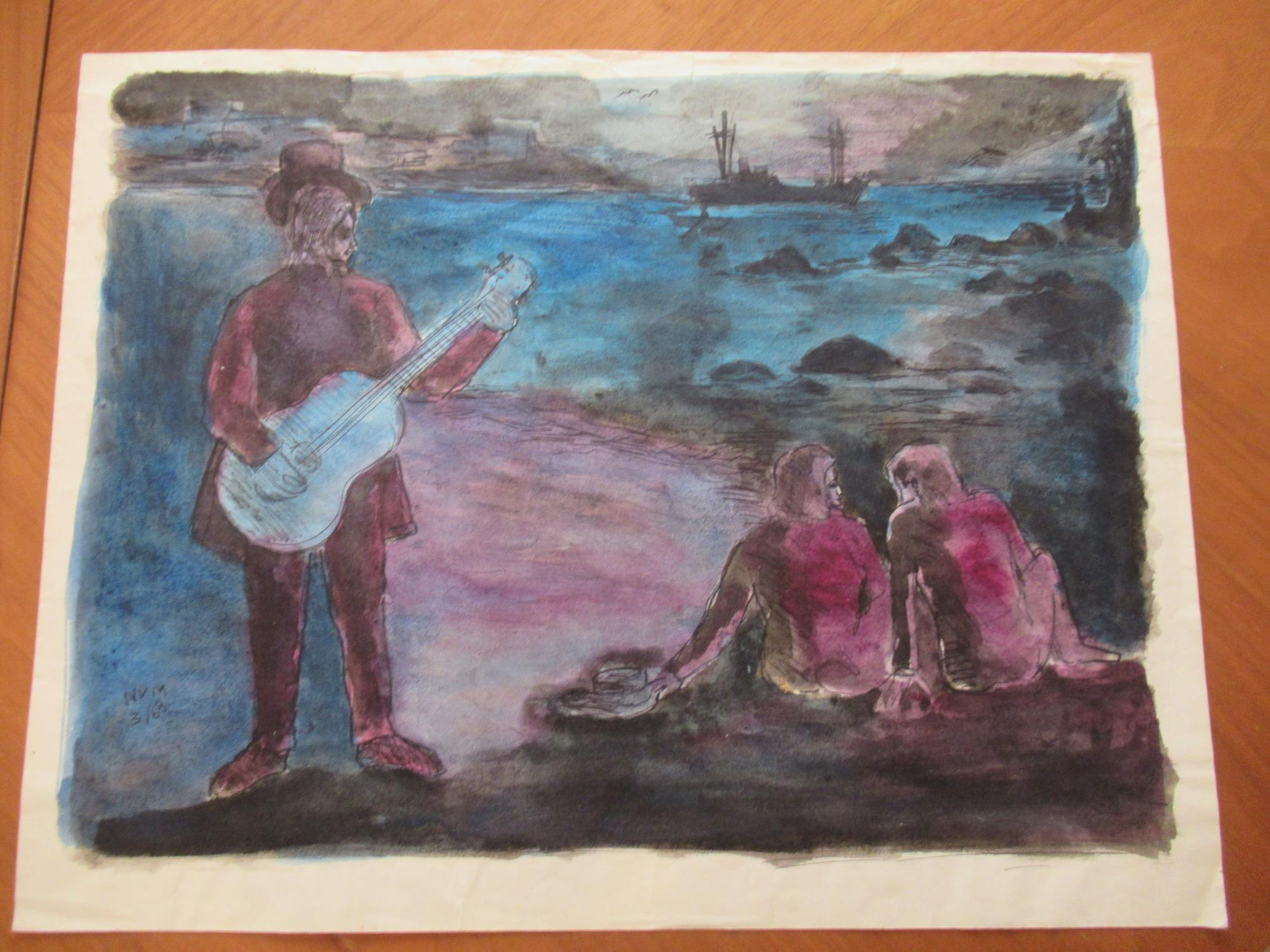 "Guitar Player And A Couple, On The Beach (Untitled, Original Watercolor) Watercolor By """"Nvm"""" Near Fine"