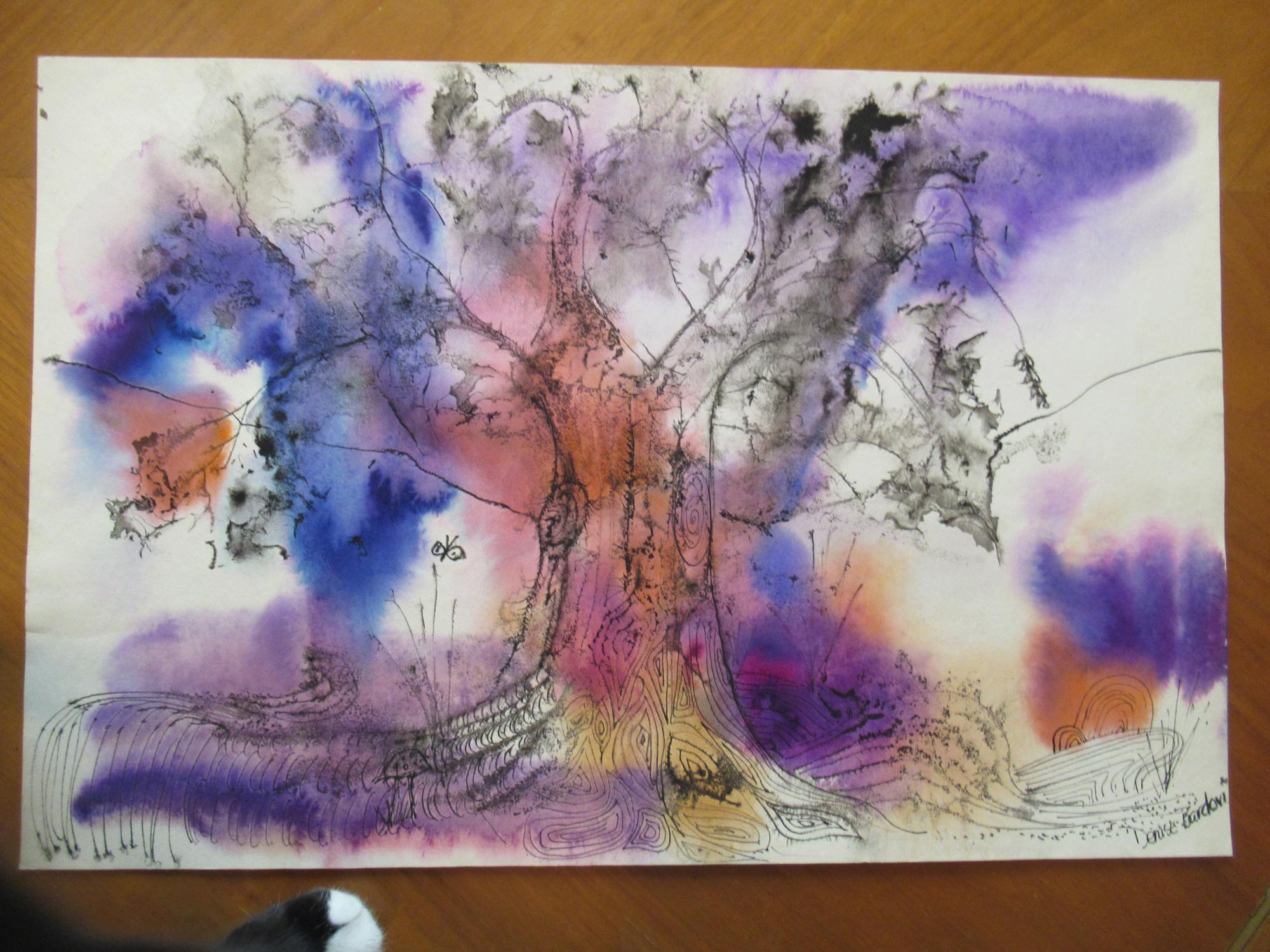 Tree (Untitled, Original Watercolor) Watercolor By Denise Bardon Near Fine