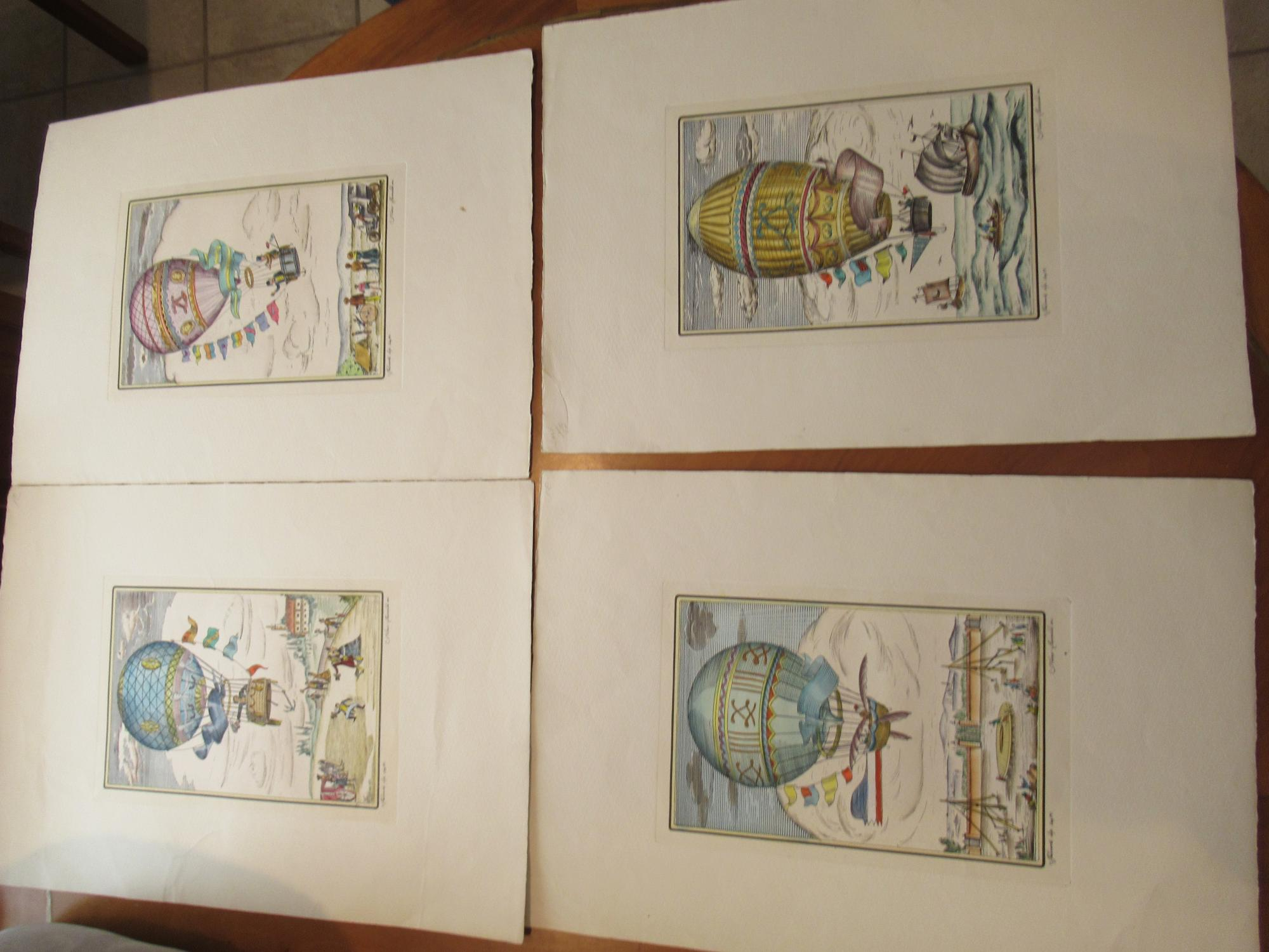 Ballooning (Four Humorous Colored Lithographs) Original Color Lithographs By Franco Raialdi Near Fine