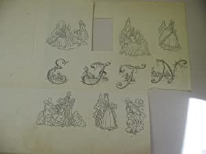 Original Ink Drawings By Will Bradley, Including SIx of Adults in Eighteenth Century Dress, and F...