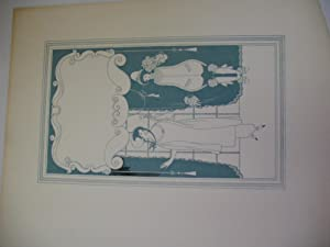 Original Ink Drawing By Will Bradley in Green Ink, Two Figures Framed with Space Above