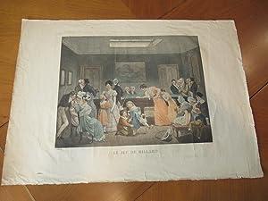 Le Jeu De Billard [Original Color Engraving After Drawing By Boilly, Louis-Leopold: Boilly, ...