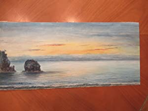 Original Large Watercolor of a Sunset Viewed from a Beach, Untitled