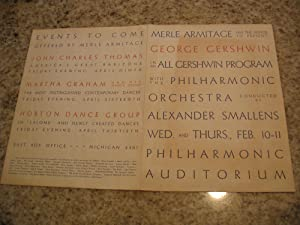Merle Armitage Has The Honor To Present George Gershwin In An All Gershwin Program