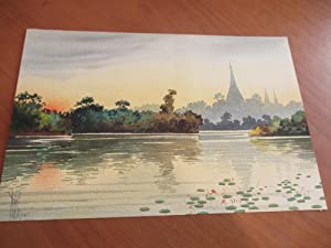 Watercolor Of A Southeast Asian River Scene