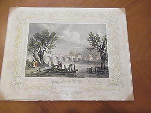 Vauxhall Bridge. Original Antique Engraving, Hand Colored,: Original Engraving By