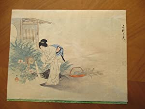 Woman In Garden Washing Her Hands, Japanese Wood Block Print