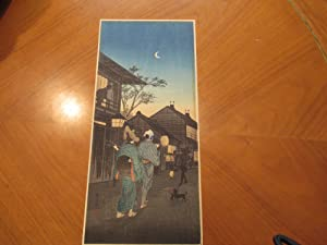 Japanese Street Scene [Original Wood Block Print]