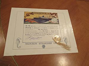 Order Of The Trident (Tourist Certificate For First Crossing Of Equator)