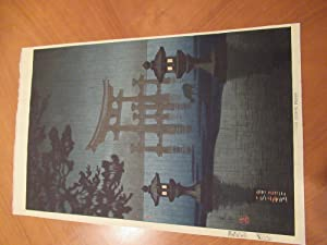 Original Japanese Color Woodblock, Temple Garden Scene