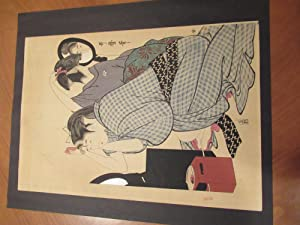 Original Japanese Color Woodblock, Two Women At Their Toilette