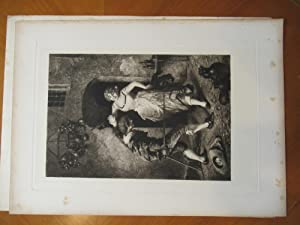 An Unequal Struggle (Original Antique Etching After: Etching By J.
