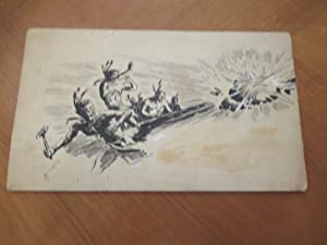(Science Fiction Art) Original Ink Drawing Of Indians And Crashing Meteor/Spacecraft, For Science...