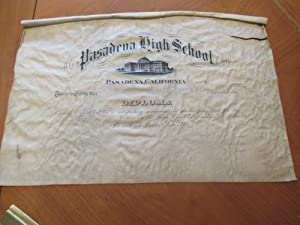 Original Diploma On Vellum From Pasadena High School Circa 1900-1909, On Vellum