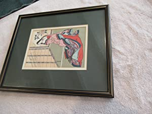 Original Japanese Color Woodblock,Woman In Kimino