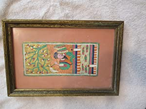 Untitled, Antique Chinese Painting On Paper, Mounted, In Antique Gilt Frame