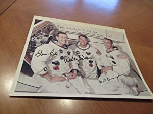 Original NASA Color Photograph Inscribed by Apollo 7 Astronauts Walt Cunningham, Donn Eisele and ...