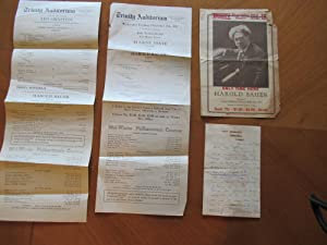 Original Handwritten Letter From Pianist Harold Bauer, 1907, With Three Performance Programs, 1917