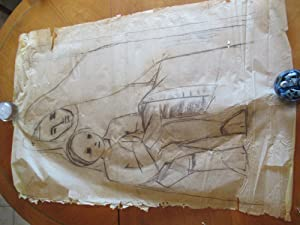 Original Modernist Drawing: Virgin Mary And Child, Sketch For A Mural