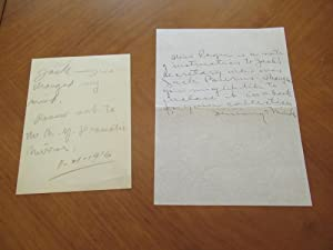 Original Handwritten Note By Jack London, November 21, 1916 (The Day Before His Death), To His Se...