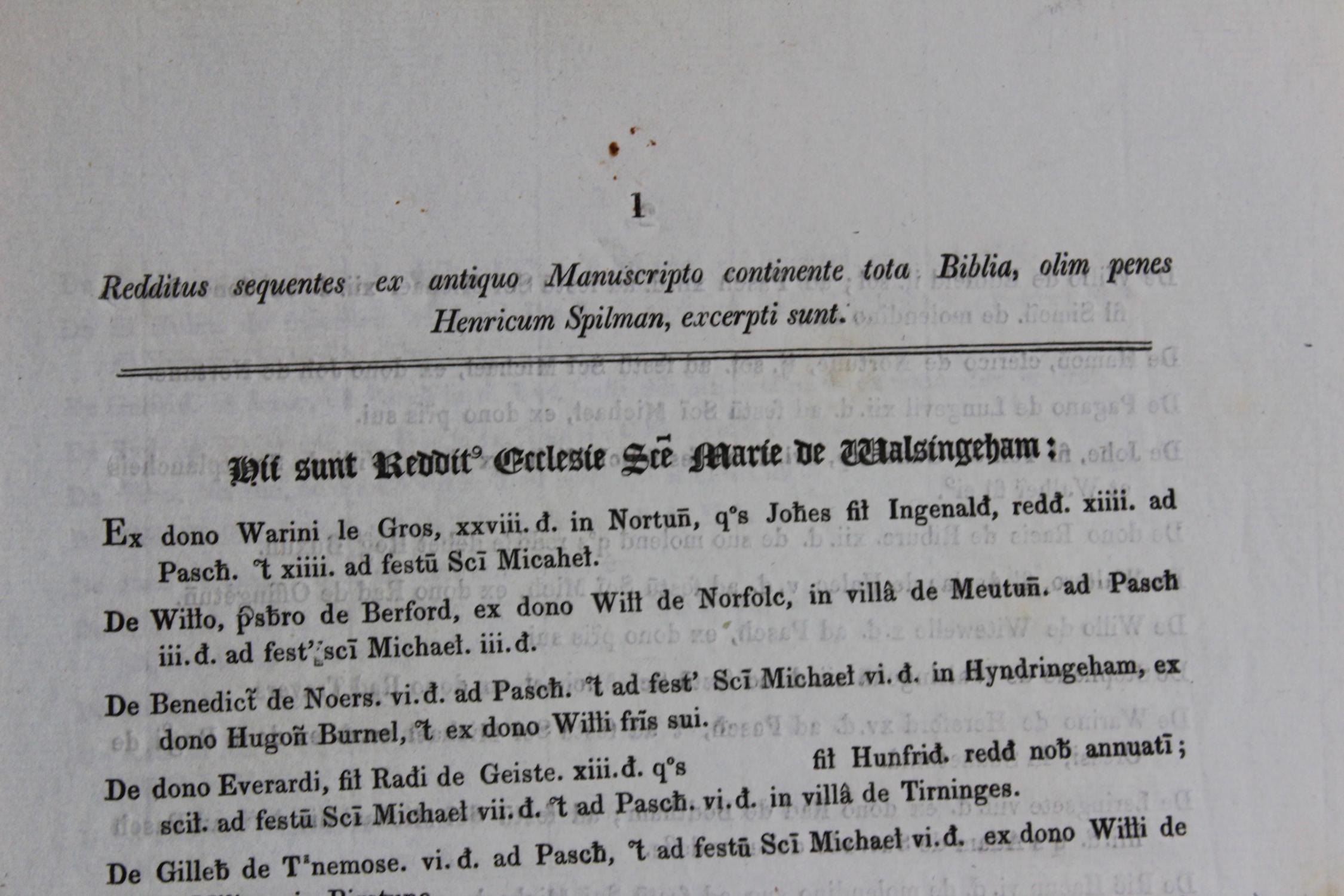 Redditus sequentes ex antiquo manuscripto continente tota Biblia, olim penes Henricum Spilman, excerpti sunt. [Church of St Mary, Walsingham, Norfolk
